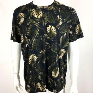 Vince Mens XL Green Navy Blue Floral Print Shirt